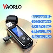 VAORLO Màn Hình LCD Hiển Thị Đầu Nhận Bluetooth 5.0 Bộ Phát Cho Tai Nghe Thẻ TF Chơi Với 3.5Mm AUX Stereo Âm Nhạc Có Micro
