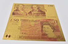 Gold 50 EuroBanknote Money Paper European Colorful Foil Banknotes with Envelope