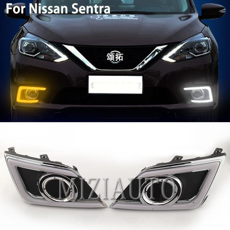 2x White LED Daytime Running Fog Lights Lamp DRL For Nissan Sentra 2016 2017