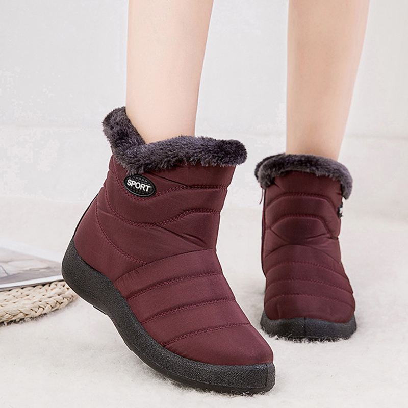 2019 Winter Women Shoes Waterproof Ankle Boots Plush Warm Shoes Woman Trainers Shoes Rubber Boots For Women Chaussure Femme 23