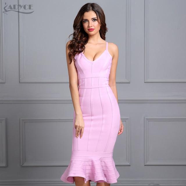 Adyce femmes été rose robe de pansement 2020 Spaghetti sangle sirène col en v Midi clubwear célébrité soirée robe de soirée Vestidos