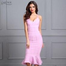 Adyce kobiety lato różowa sukienka bandaż 2020 Spaghetti pasek syrenka dekolt Midi Clubwears suknie wieczorowe w stylu gwiazd Vestidos