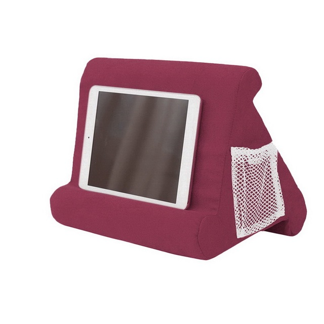 Pillow Foam Laptop Tablet Lapdesk Multifunction Tablet Stand Holder Stand Lap Rest Cushion for Ipad with Bag Wine Red