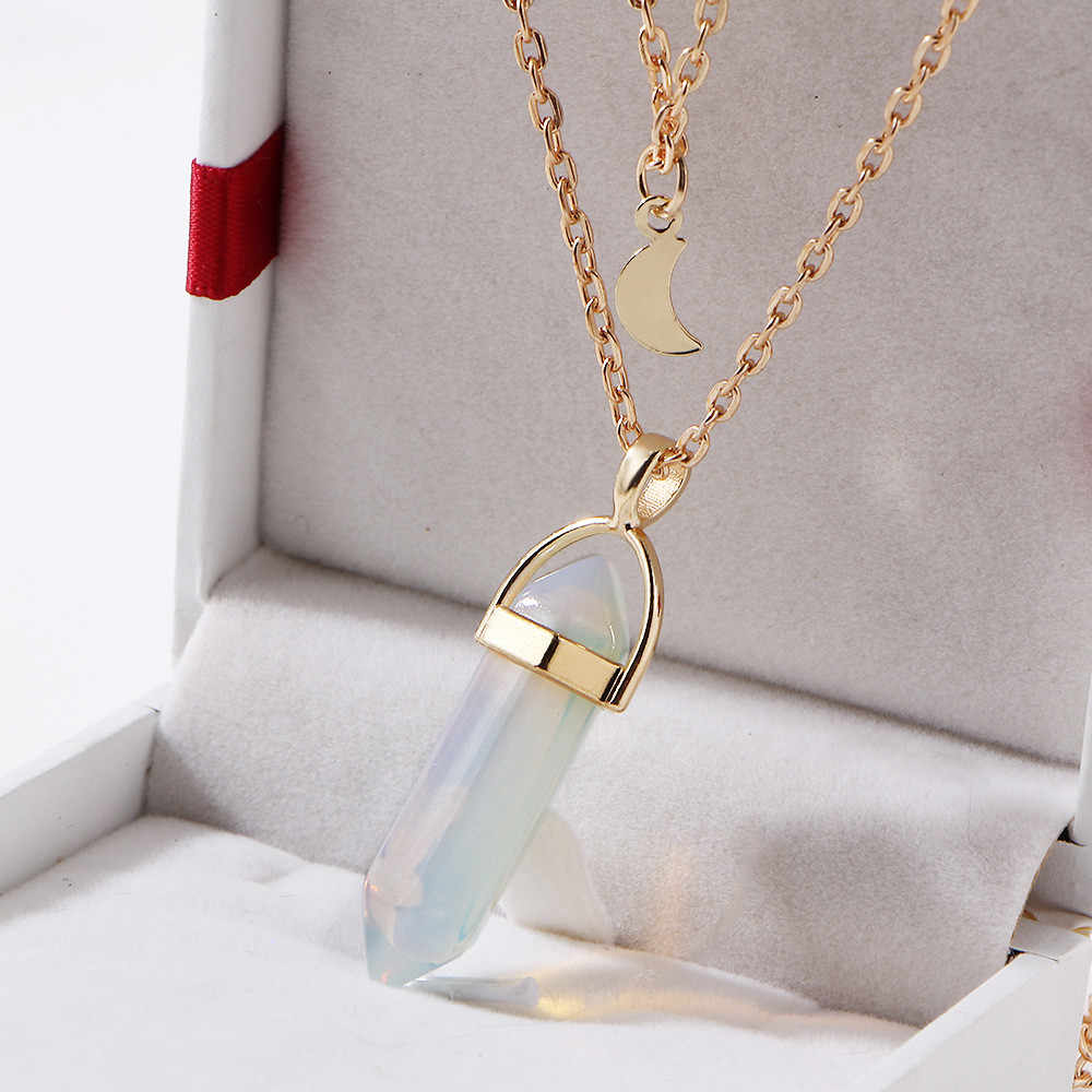 Vintage Đa Lớp Pha Lê Mặt Dây Chuyền Nữ Không Đều Tinh Thể Thạch Anh Vàng Opal Mặt Dây Chuyền Sừng Trăng Lưỡi Liềm Vòng Cổ Choker Trang Sức Mới