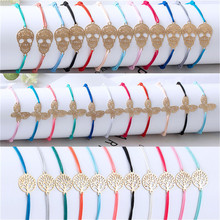 12pcs/Set Golden & silver Butterfly Skeleton Love heart life Tree leaf Hollow Fashion Colorful Handmade Bracelet for Women HOT