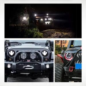Image 5 - مصابيح أمامية للدراجة النارية 7 بوصة, ضوء LED منخفض و مرتفع الشعاع H4 HALO، بإشارات الدوران، و قدرة 60 واط، لدراجات جيب ورانجلر جي كي، تي دجي، لاند روفر، و هارلي.