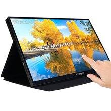 WIMAXIT 14 inç taşınabilir monitör 98% sRGB dokunmatik FHD IPS bilgisayar harici ekran USB-C oyun ekranı ile 2 tip C m1400CT