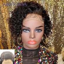 Парики из коротких кудрявых бобов, 4x4, парики из человеческих волос, парики из фронта шнурка, 180 плотность, парики из человеческих волос, Remy