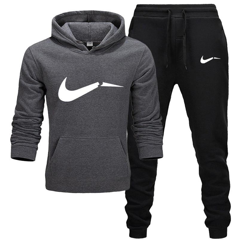 New Sportswear Men's Hoodie Suit Wool Warm Sweatshirt + Pants Brand Printing Set Homme Casual Fitness Jogging Suit 2019