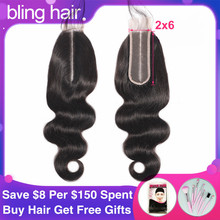 Bling Hair Brazilian Body Wave Human Hair Closure With Baby Hair Remy 2x6 Swiss Lace Closure Middle Part Natural Color 8 22 Inch