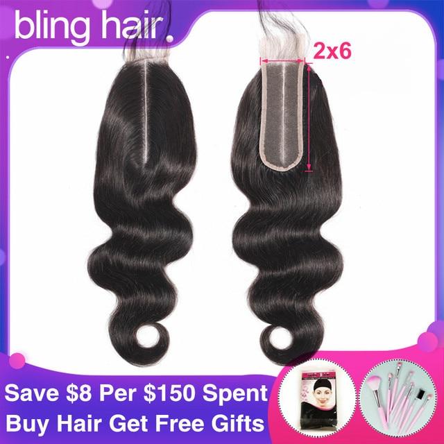 Fermeture brésilienne de cheveux de vague de corps de cheveux de Bling avec des cheveux de bébé Remy 2x6 fermeture suisse de dentelle partie moyenne couleur naturelle 8 22 Inch