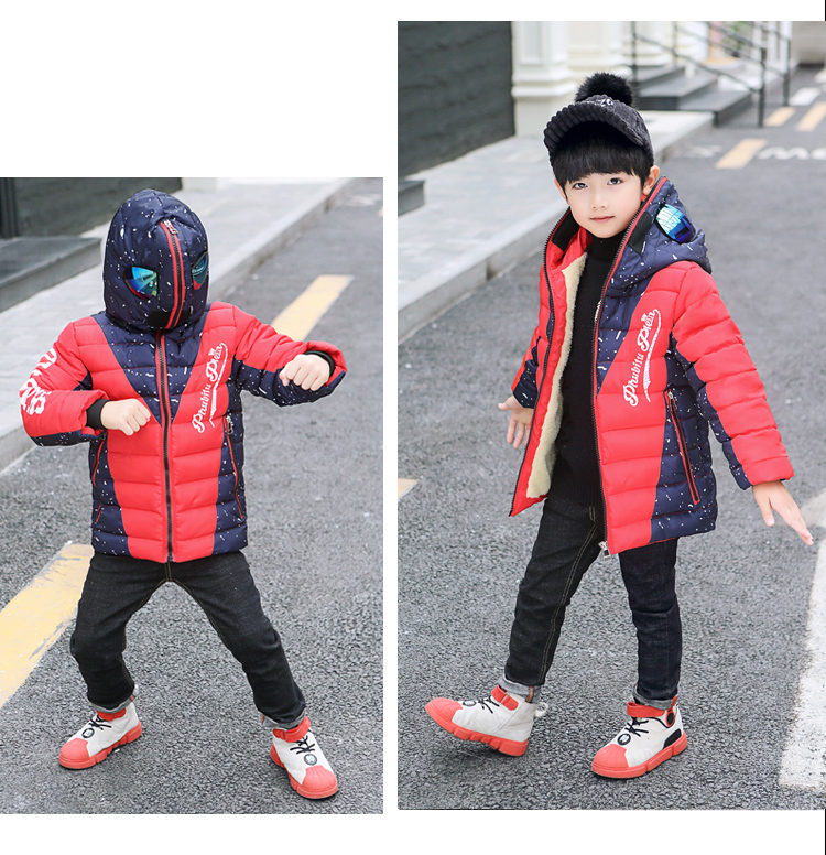 H681db7ce57974ccd81f29fa5ec3653de5 - Winter Warm Kids Boys Jackets With Glasses For Children Waterproof Cotton-Padded Parkas with Glasses Teenage Hoodies Coat