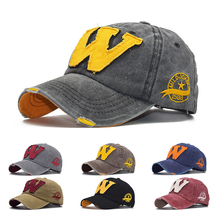 New Cotton Letter W Baseball Cap Retro Outdoor Sports Caps Women Bone Gorras Curved Fitted Washed Vintage Dad Hats for Men
