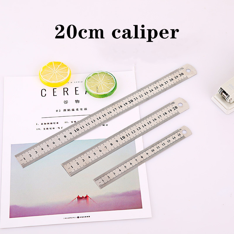 20cm 1 Piece Stainless Steel Ruler Fine Inch Scale Cm Office Student Drawing Line High Precision Measuring Tool