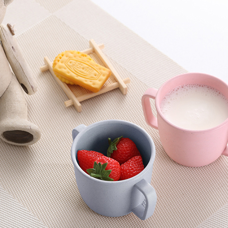 Environmental Water Cup Wheat Straw Children Breakfast Double Handle Eco-Friendly Milk Drink Cup For Baby