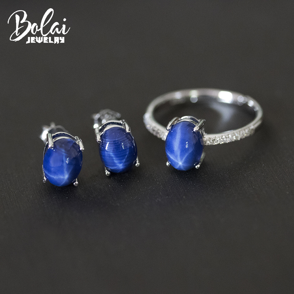 Bolai star sapphire jewelry sets 925 sterling silver oval created blue gemstone stud earrings ring women's gift simple style