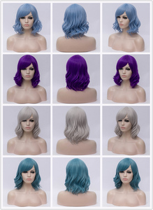 Image 5 - Msiwig perruque de Cosplay synthétique courte ondulée avec frange sur le côté, perruque violette bleue rose verte pour femmes