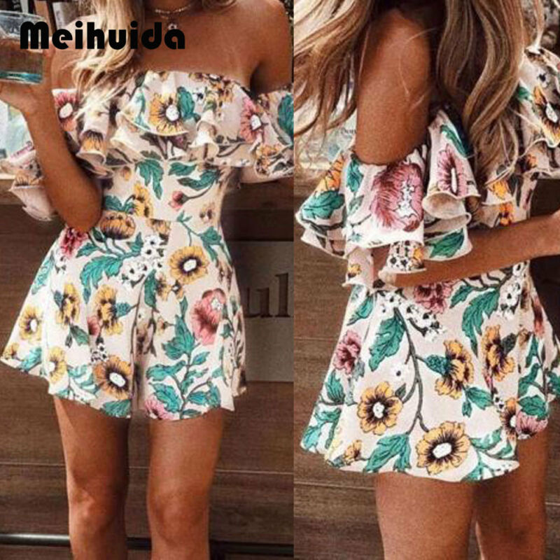 Boho Floral Playsuit Women Summer Off Shoulder Ruffle Bodycon Jumpsuit Romper Beach Casual Shorts Party