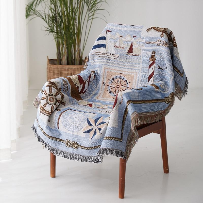 Cartoon Blue Sofa Blanket Cotton Soft Cover Towel Universal Slipcover Throws On Sofa/Bed/Plane Travel Plaid