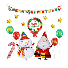 AVEBIEN Cartoon Christmas Character Merry Letter Pull flag Balloon Set Party Decoration Aluminum film Balloo