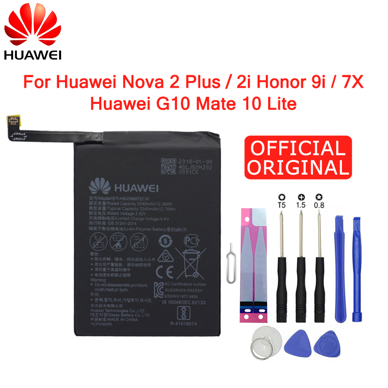 Hua Wei Original Phone Battery HB356687ECW 3340mAh For Huawei Nova 2 Plus / Nova 2i / Honor 7X 9i / G10 / Mate 10 Lite Batteries