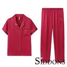 Сиддонс мужчины шелковый атлас пижамы наборы пижамы пижамы с коротким рукавом большой размер мода пижамы для мальчика пижамы костюм для дома Новый