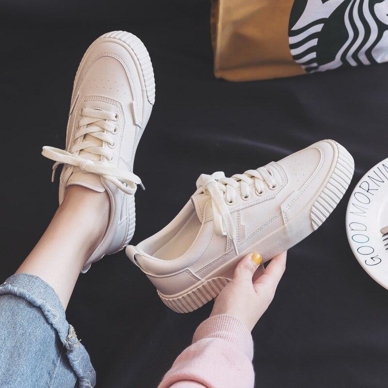 Zapatos de mujer 2019 otoño nueva tendencia de moda zapatos de cuero cómodos planos casuales zapatos blancos zapatos bajos para mujer 4