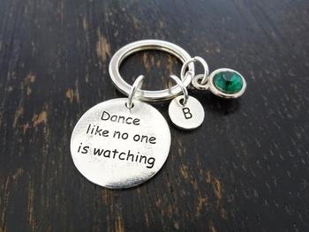 Ballet Keychain Dance Teacher Gift Dance Like No One Is Watching Keychain Custom Keychain Custom Key Ring Dance Keychain D tanie i dobre opinie Miedzi