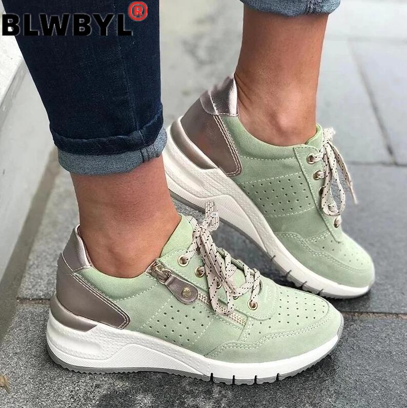 2020 Breathable Sneakers Women Vulcanized  Casual Shoes New Styles Striped Mesh Platform Ladies Trend Sneakers Zapatillas Mujer