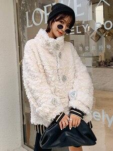 Image 4 - Ayunsu معطف الفرو الحقيقي الإناث الأغنام القص الخريف الشتاء سترة المرأة 100% معطف الصوف الكورية الوردي جاكيتات Manteau فام SGT 007