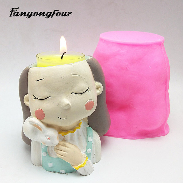 Details about  /3D beautiful girl flower pot silicone mold baking mold chocolate resin candle