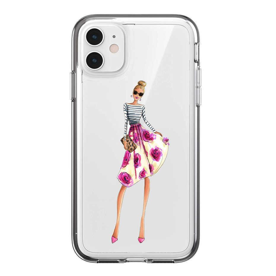 Silikon güzel genç kadın çantası iPhone X XS 11 Pro Max XR SE 2 iphone 6 için yumuşak kabuk 7 8 artı 11 kabuk F50