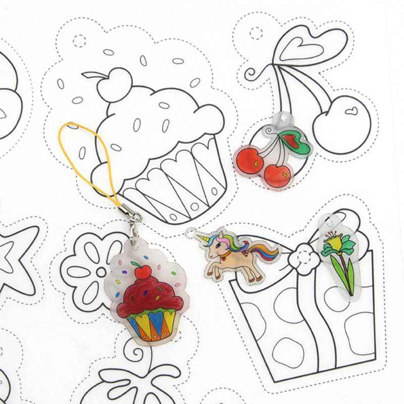 DIY สี FILLER Filling หดภาพวาดหัตถกรรมเด็กเด็กการ์ตูนรถการศึกษาความร้อนหดตัว Handmade อุปกรณ์โรงเรียน