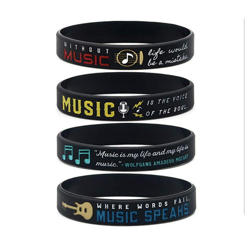 Musician sport motivational Silicone Wristband Bracelets for craft gifts MUSIC SPEAKS Pulseras de moda