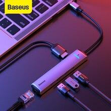 Baseus USB C концентратор USB C до Multi Touch HDMI-совместимость с USB 3,0 RJ45 Carder Reader OTG адаптер USB разветвитель для MacBook Pro/Air концентратор док-станция