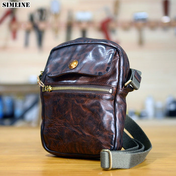 Genuine Leather Messenger Crossbody Bag Men Cowhide Vintage Casual Luxury Brand Man Men's Small Shoulder Crossbody Bags For Male фото