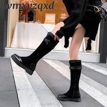 Сапоги Дамская змеиная кожа, смешанный цветной каучук, зимние женские мотоциклетные сапоги до колена Женские ботинки в готическом стиле, WMXYZQXD