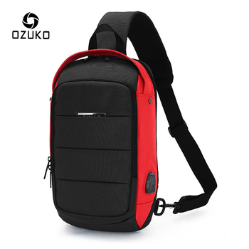 boys crossbody bags for men messenger chest bag pack casual bag waterproof nylon single shoulder strap pack 2019 new fashion OZUKO USB Charge Chest Pack for Men Waterproof Crossbody Bags Male Casual Shoulder Bag Large Capacity Waterproof Messenger Bags