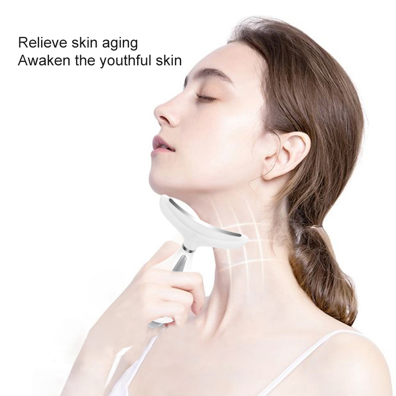 AmazeFan 3 Colors Led Facial Neck Massager PhotonTherapy Heating Face Neck  Wrinkle Removal Machine Reduce Double Chin Skin Lift Home Use Beauty Devices   - AliExpress