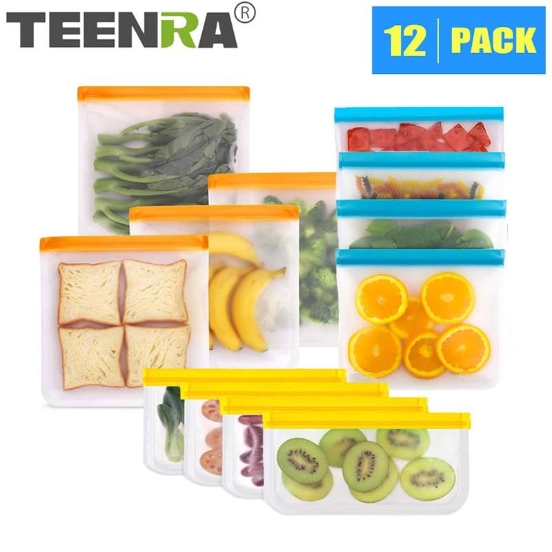 TEENRA 12Pcs/set PEVA Food Storage Bag Container Reusable Food Fresh Bag Ziplock Leakproof Food Bag Kitchen Organizer