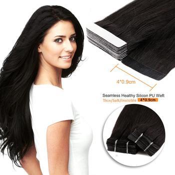 Neitsi Tape In doczepy z ludzkich włosów 12 #8222 maszyna stworzona Remy taśma dwustronna prosto wątek skóry klej do włosów 15 kolorów tanie i dobre opinie Proste 1 5g strand Pure color Indyjski włosy Ciemniejszy kolor tylko