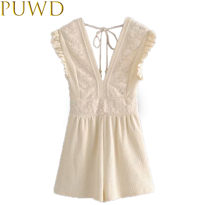 fashion women's sweet beige playsuits 2020 new lace v-neck sexy elegant ladies playsuits girls chic bodysuits