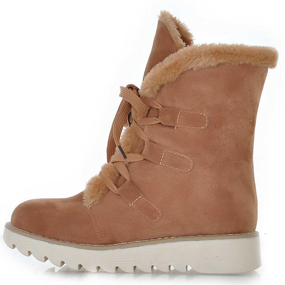 KARINLUNA 32-43 yeni moda dantel-up platformu çizmeler bayanlar kış sıcak ayak bileği kar botları kadın 2019 olmayan kaymaz peluş ayakkabı kadın