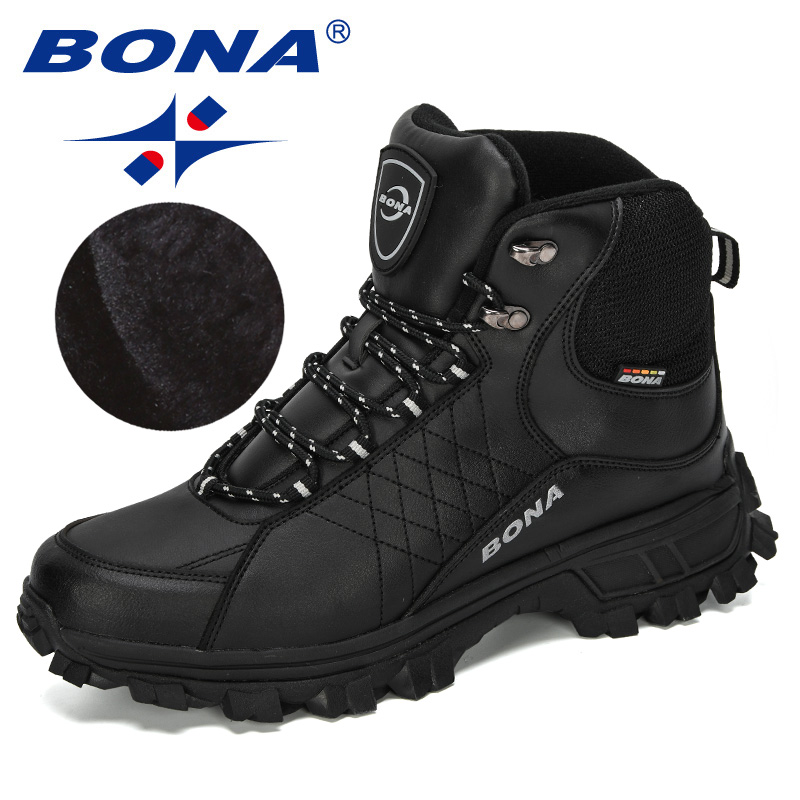 BONA 2019 New Designers Men Ankle Hiking Boots, Plus Size Fashion Classic Trekking Footwear Outdoor Plush Winter Boots Man Comfy