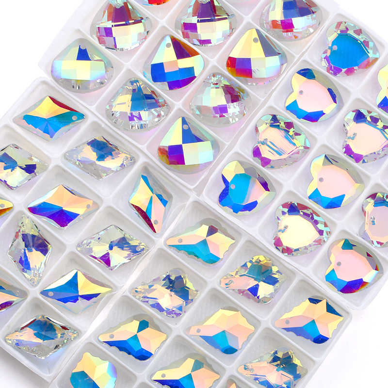 QIAO คุณภาพสูงหลายคริสตัล AB เสื้อผ้าลูกปัด Multicolor เครื่องประดับจี้แฟชั่น,อุปกรณ์เสริม DIY