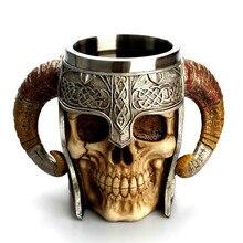 Home Water Cups 3D Coffee Mug Striking Warrior Tankard Viking Skull Double Wall Halloween Cup Cup Creative Cups DropshipingAug1 tankard tankard r i b