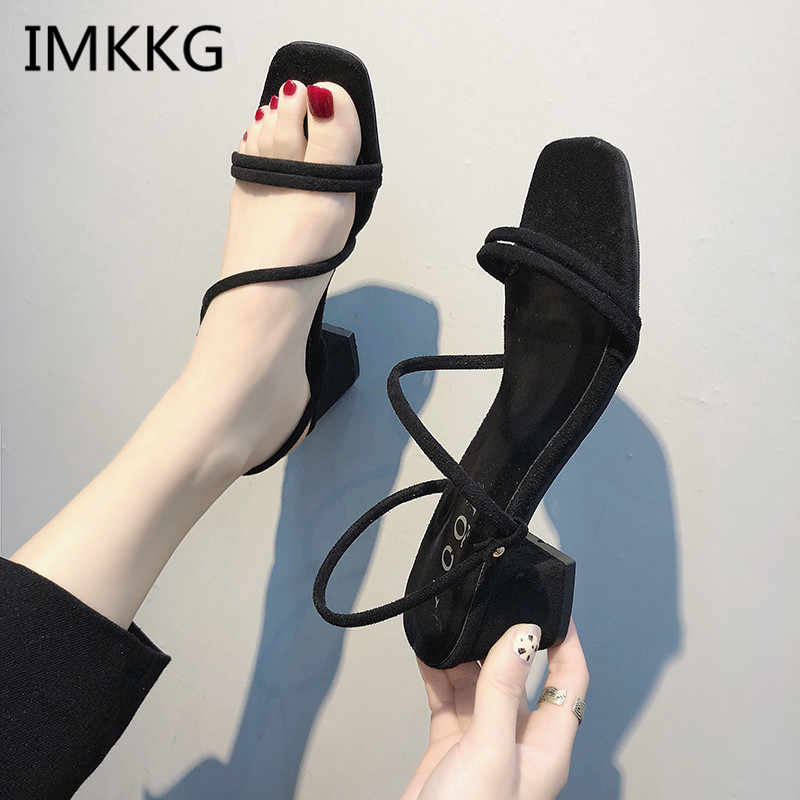 Women Sandals Suede Square Heels Peep Toe High Quality Women's Fashion Summer Shoes Plus Big Size 44 f067