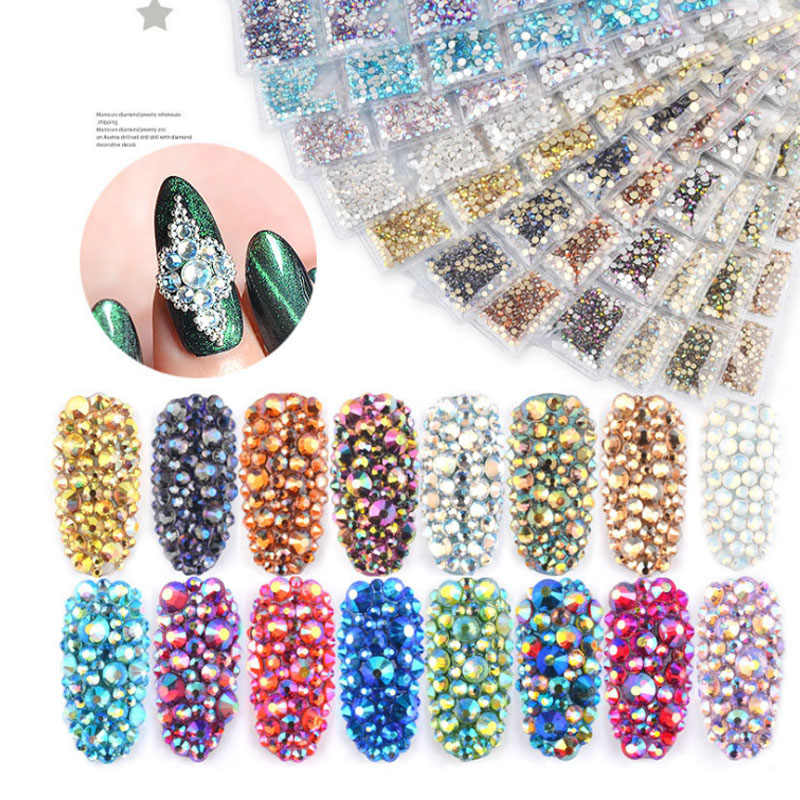 1728Pcs SS4-SS16 Ab Crystal Rhinestone Diamond Gem 3D Glitter Nail Art Decoratie Beauty