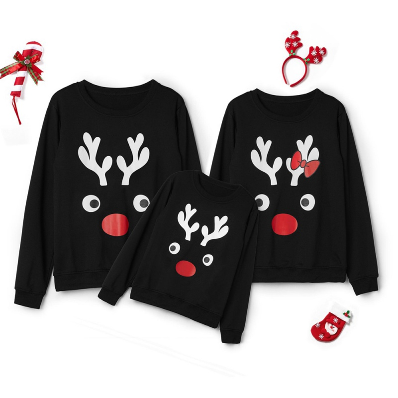 OEAK Family Matching Children Clothing Christmas Sweaters Stripes Print Family Parent-child Suit Printing Sweater Cotton Soft