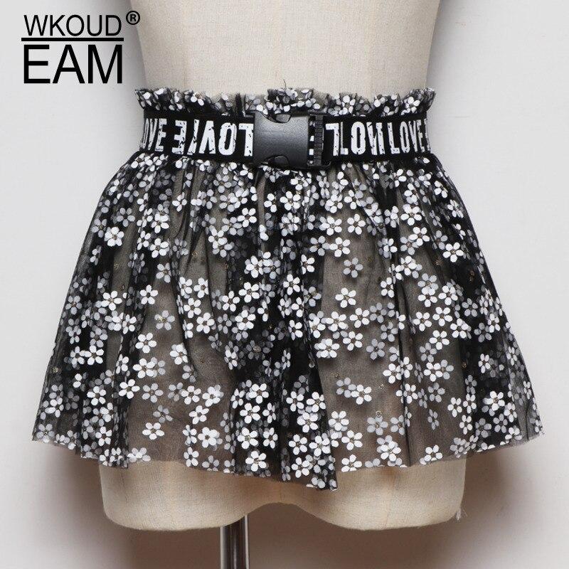 WKOUD EAM 2020 New Mesh Flower Skirt Corset Belt For Women Korea Fashion Elastic Belt Female Wild Dress Waistband Lady PF558